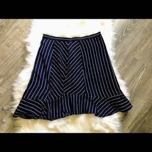 J crew woman pin stripe flare skirt size 0